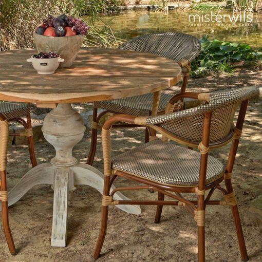 COMMUNITY Table ronde en bois, plateau circulaire réalisé en bois de 4cm d'épaisseur.