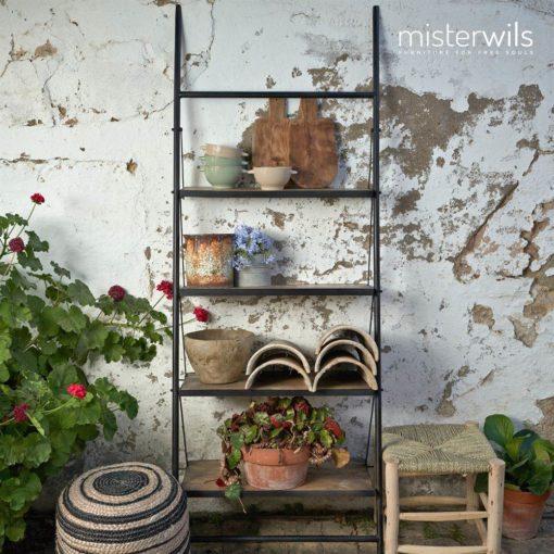 KANDICE Tabouret bas de style vintage shabby chic, structure en bois, assise en feuilles de palmier naturel. Dimensions: 35×35×45 cm