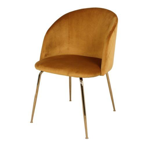 LUPIN CURRY Chaise de style scandinave/contemporainm avec structure fabriquée en acier, finition laiton, revêtement velours.