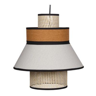 TOBIO CURRY Lampe de plafond fabriquée en tiges de fibres naturelles et tissu | Trouvez-la chez MisterWils. Plus de 4000m² d'exposition. Buffets, étagères...