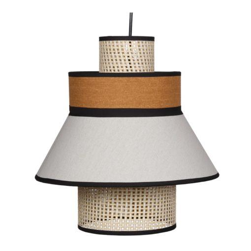 TOBIO CURRY Lampe de plafond fabriquée en tiges de fibres naturelles et tissu   Trouvez-la chez MisterWils. Plus de 4000m² d'exposition. Buffets, étagères...