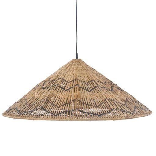 MAHALIA Abat-jour pour lampe plafonnier de style exotique fabriqué en rotin naturel. Trouvez-la chez MisterWils, furniture for free souls.