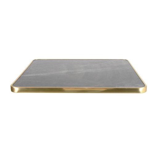 LORNA BLACK Plateau de table en contreplaqué stratifié avec placage laminé en finition calacatta, cadre en aluminium finition laiton. Épaisseur de 2,5 cm.