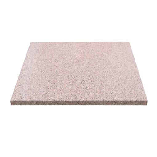 SKYNA Plateau carré en terrazzo rouge avec bords droits par fraisage.Idéal pour une table avec un pied central. Trouvez-le chez MisterWils.