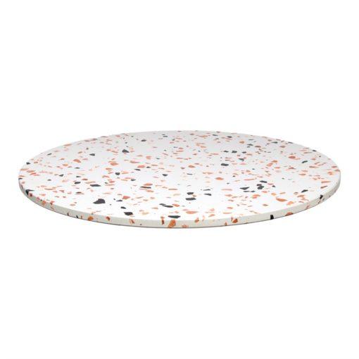 JULIE CIRCULAIRE Plateau de table circulaire en terrazzo avec fraisage à bords droits. Parfait pour une table avec une structure à pied central.