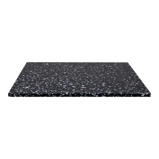 NEGRONI CARRÉ Plateau de table carré en terrazzo avec fraisage à bords droits. Parfait pour une table avec une structure à pied central.