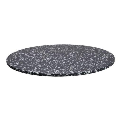 NEGRONI CIRCULAIRE Plateau de table circulaire en terrazzo avec fraisage à bords droits. Parfait pour une table avec une structure à pied central.