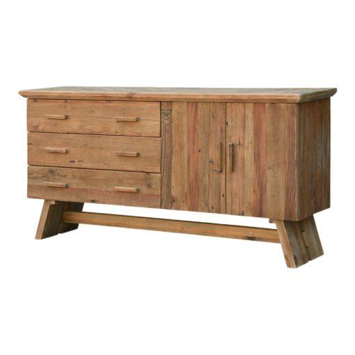 HELGADY Buffet de style Rustique Contemporain fabriqué en bois de pin recyclé avec 2 portes et 4 tiroirs | Trouvez-la chez MisterWils. Plus de 4000m² d'exposition