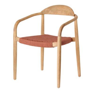 GLYNIS TERRACOTA Chaise avec accoudoirs. Structure en eucalyptus massif. Traitement Nano Oil PNZ pour une durée de vie plus longue.