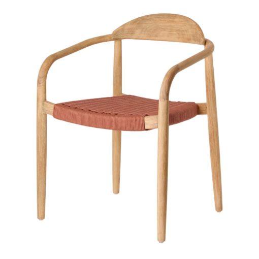 GLYNIS Chaise en bois avec accoudoirs. Structure en eucalyptus massif. Traitement Nano Oil PNZ pour une durée de vie plus longue.7