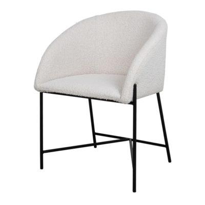 PETUNIA WHITE Chaise de style Contemporain avec structure en tubes d'acier, finition peinture powder coated noire. Assise tapissée en laine bouclée.
