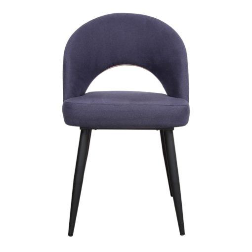 CLYDE Chaise de style Contemporain avec structure en tubes d'acier, finition peinture powder coated noire. Assise et tapissés en toile.