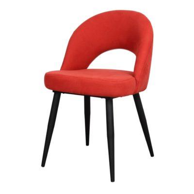 DENIA Chaise de style contemporain avec structure en tubes d'acier, finition peinture powder coated noire. Assise et dossier tapissés en tissu.