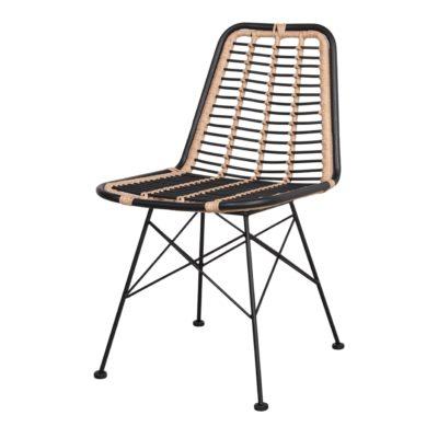 GINO BLACK Chaise de style scandinave avec structure en tubes d'acier, assise et dossier en rotin synthétique. Adapté pour un usage extérieur.1