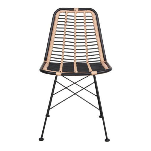 GINO BLACK Chaise de style scandinave avec structure en tubes d'acier, assise et dossier en rotin synthétique. Adapté pour un usage extérieur.2