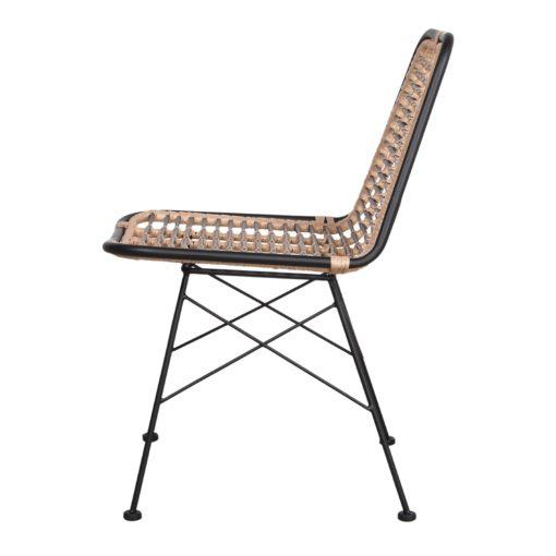 GINO BLACK Chaise de style scandinave avec structure en tubes d'acier, assise et dossier en rotin synthétique. Adapté pour un usage extérieur.3