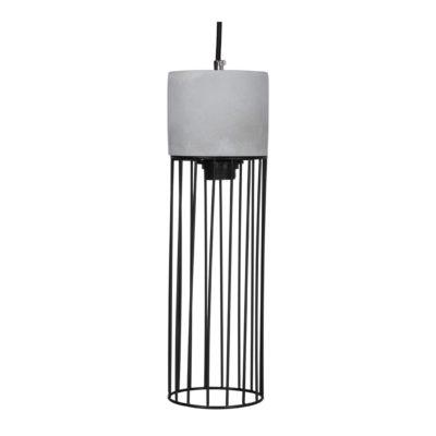 PAMONY Lampe plafonnier type cage de style Contemporain fabriquée en ciment et tiges d'acier. Câble recouvert de coton tressé.