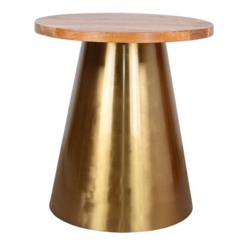 BETSY BOIS Table de style Contemporain avec structure centrale fabriquée en acier, finition métal dorée. Plateau circulaire en bois de manguier.