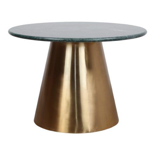 BETSY MARBRE Table de style Contemporain avec structure centrale fabriquée en acier, finition métal dorée. Plateau circulaire en marbre.