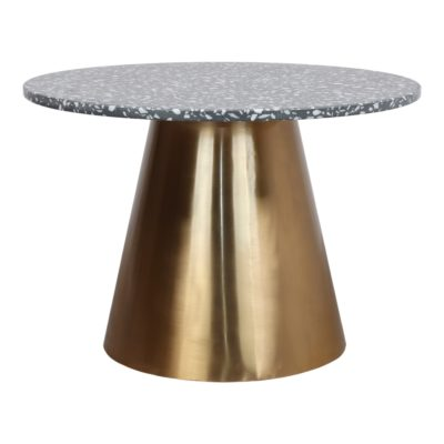 BETSY TERRAZZO Table de style Contemporain avec structure centrale fabriquée en acier, finition métal dorée. Plateau circulaire en terrazzo.