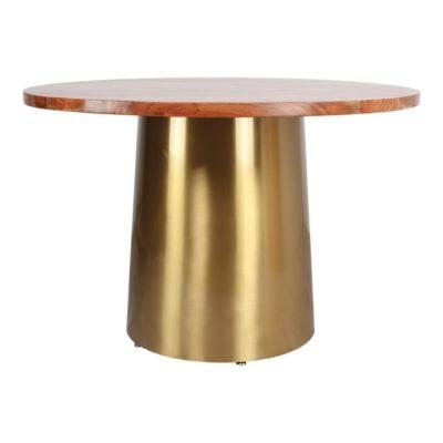 BETSY BOIS Table de style Contemporain avec structure centrale fabriquée en acier, finition métal dorée. Plateau circulaire en bois de manguier.2
