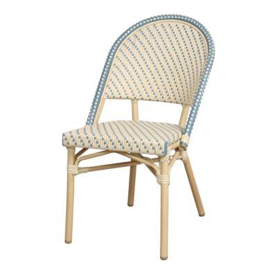 AMBITO Chaise de style Bistrot imitation bambou, fabriquée en tubes d'aluminium soudés. Assise et dossier en rotin synthétique.1