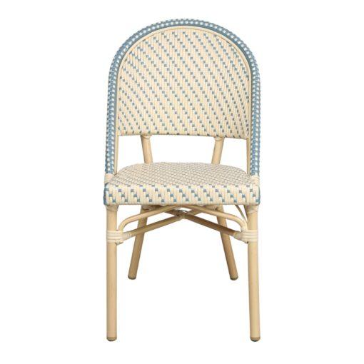 AMBITO Chaise de style Bistrot imitation bambou, fabriquée en tubes d'aluminium soudés. Assise et dossier en rotin synthétique.2
