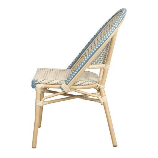 AMBITO Chaise de style Bistrot imitation bambou, fabriquée en tubes d'aluminium soudés. Assise et dossier en rotin synthétique.3