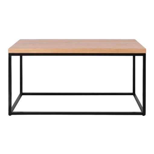 BALCONY BLACK Table basse avec structure en tubes d'acier et plateau en bois. Elle s'adapte à tous les intérieurs.
