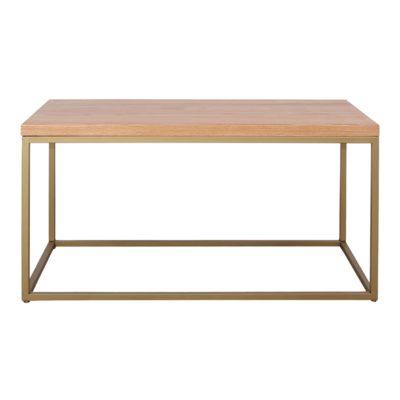 BALCONY GOLD Table basse avec structure en tubes d'acier et plateau en bois. Elle s'adapte à tous les intérieurs.