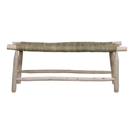 BIFASE Banc de style ethnique fabriqué en bois de laurier. Assise tapissée en palmier tressé. Trouvez-le chez MisterWils