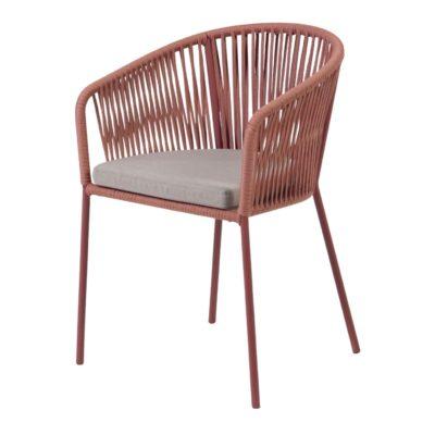 JANET TERRACOTA Chaise de style Contemporain avec structure en tubes d'acier, finition peinture powder coated.