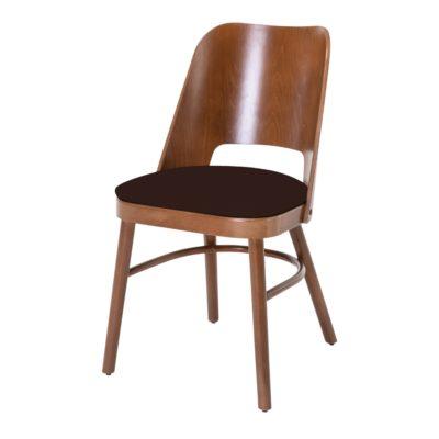 ANETO NOGAL Chaise de style Contemporain fabriquée en bois de hêtre avec finition couleur noyer. Assise tapissé en textile vinyle.