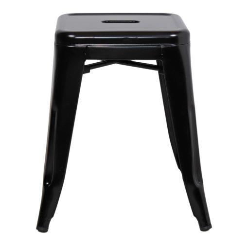 BEE BLACK Tabouret bas de style industriel, fabriqué en acier. Finition laqué noir brillant.
