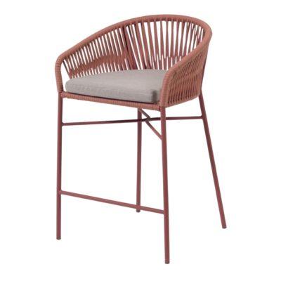 JANET TERRACOTA Tabouret de hauteur moyenne de style Contemporain avec structure en tubes d'acier, finition peinture powder coated.