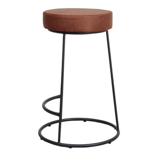 STEFAN MINI Tabouret de taille moyenne de style Contemporain. Structure en tubes d'acier finition peinture noire, assise et dossier en similicuir.3