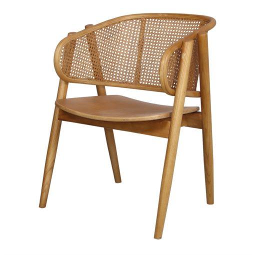 YUMAK BROWN Chaise avec accoudoirs de style Scandinave - Mid Century fabriquée en bois d'orme cintré à la vapeur. Assise en contreplaqué.