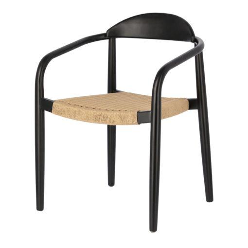 GLYNIS Chaise en bois avec accoudoirs. Structure en eucalyptus massif. Traitement Nano Oil PNZ pour une durée de vie plus longue.2