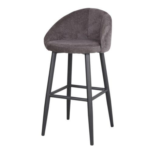 TABOURET HAUT TAPISSÉ FLARY de style Contemporain. Structure en métal peint en noir. Assise et dossier rembourrés en textile, en gris ou en bleu.4